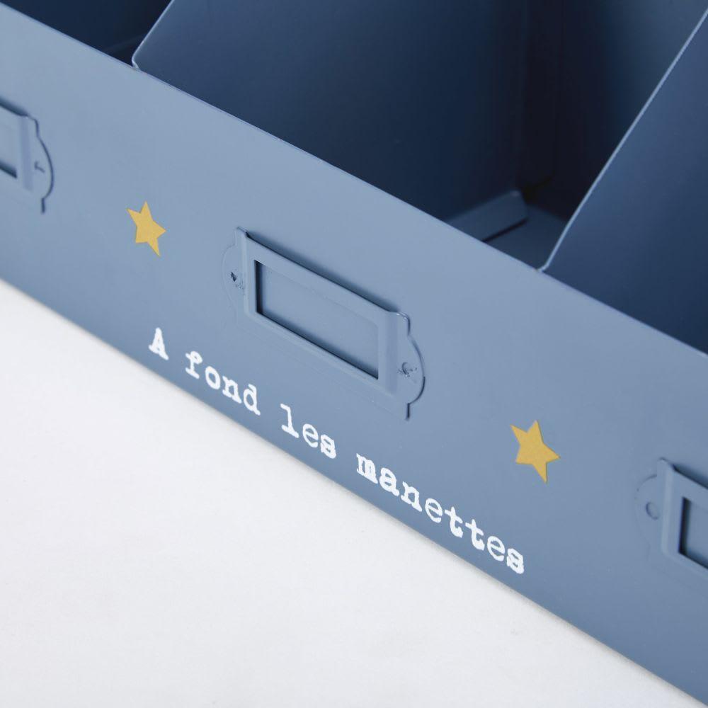 casier 3 compartiments en m tal bleu petit bolide maisons du monde. Black Bedroom Furniture Sets. Home Design Ideas