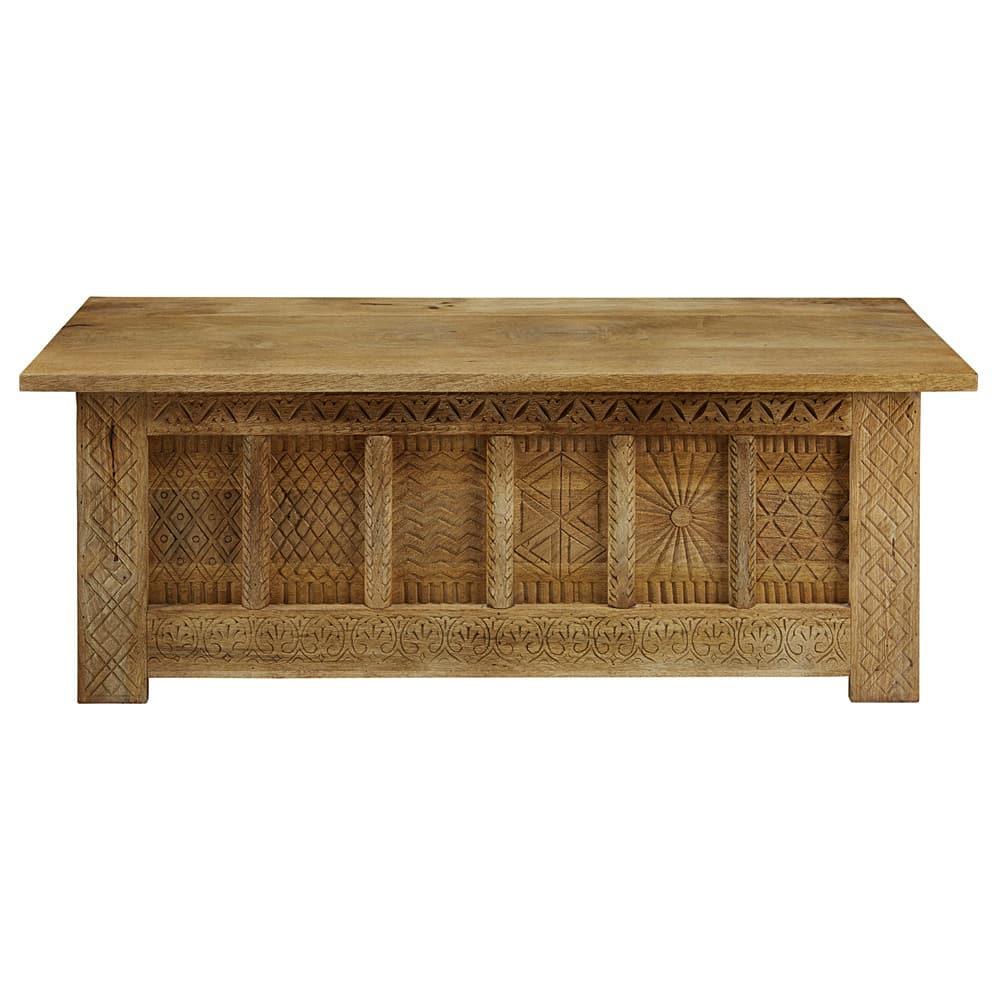 Cassapanca in legno massello di mango scolpito L.140cm Tibet ...
