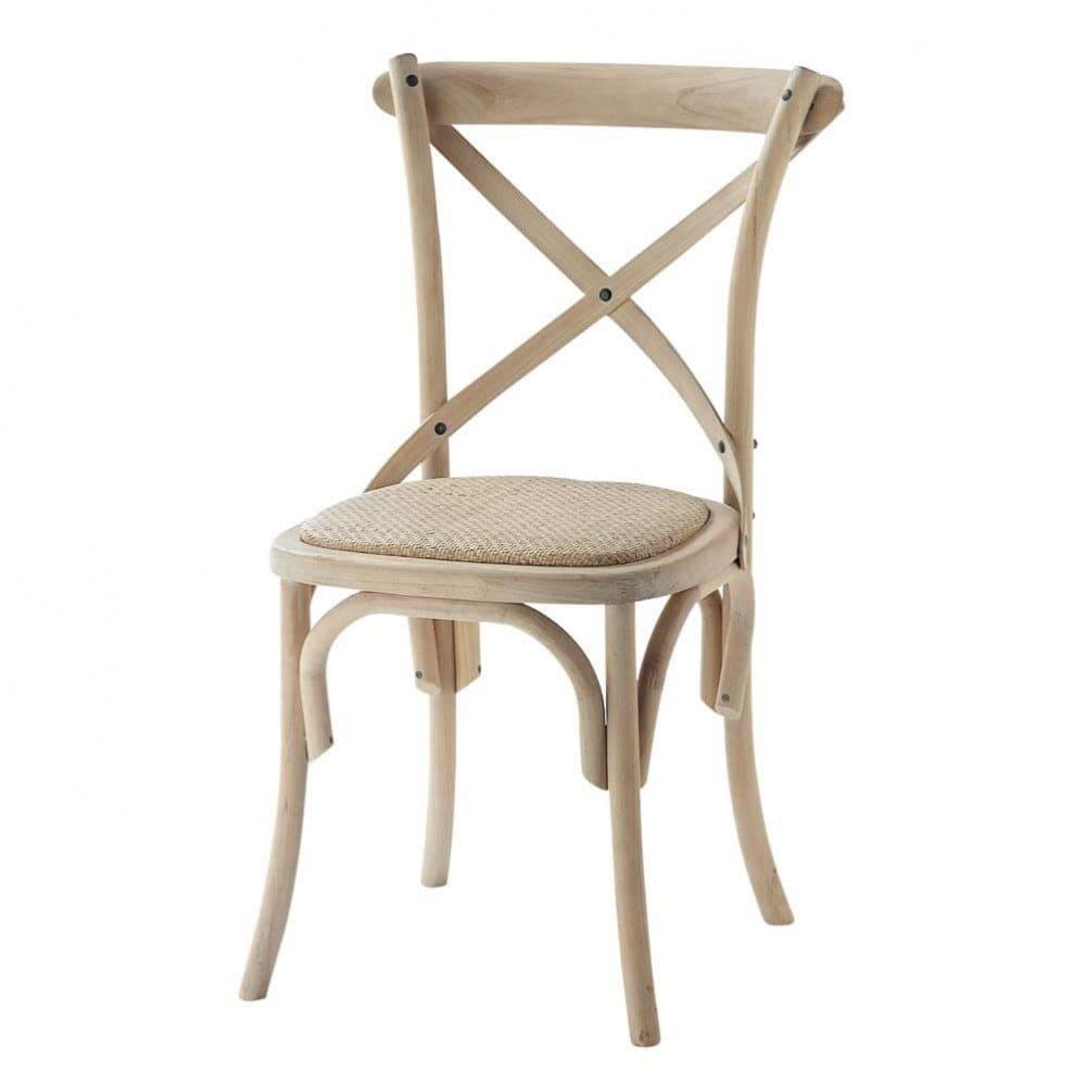 Chaise bistrot en rotin et bouleau Tradition | Maisons du Monde