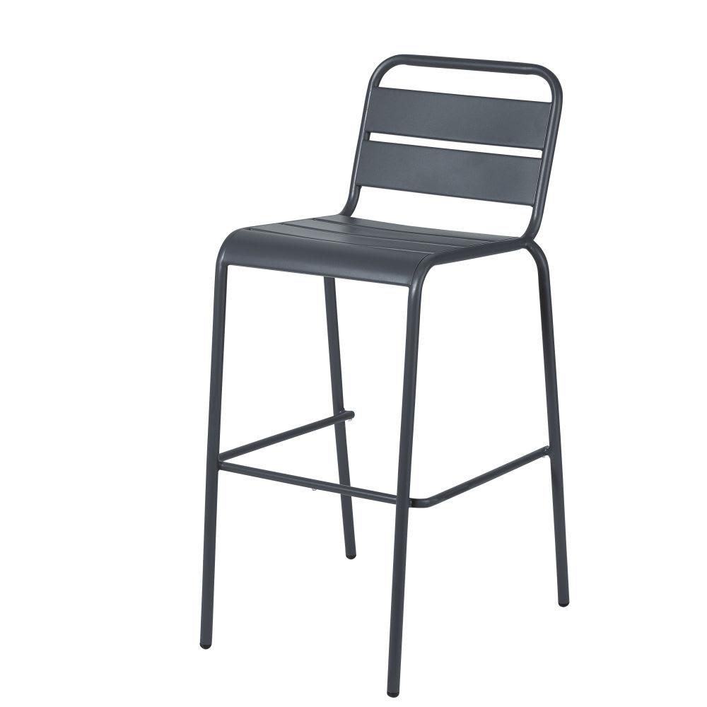 chaise de bar de jardin en m tal gris anthracite. Black Bedroom Furniture Sets. Home Design Ideas