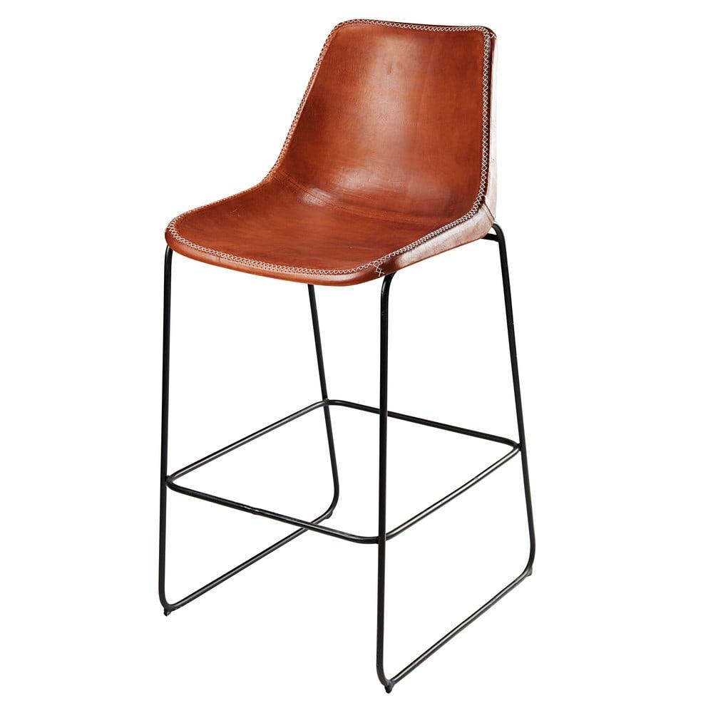 chaise de bar en cuir de ch vre marron et m tal noir. Black Bedroom Furniture Sets. Home Design Ideas