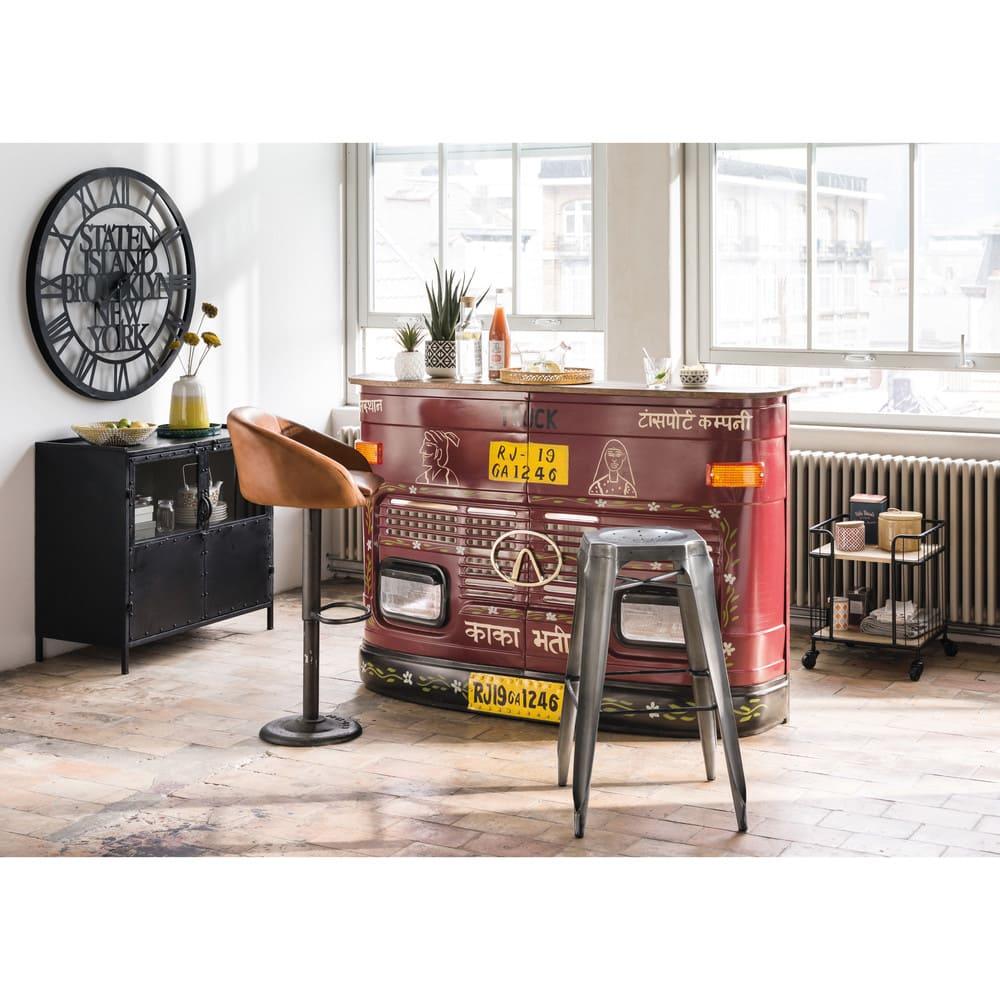 chaise de bar indus en cuir camel gama maisons du monde. Black Bedroom Furniture Sets. Home Design Ideas