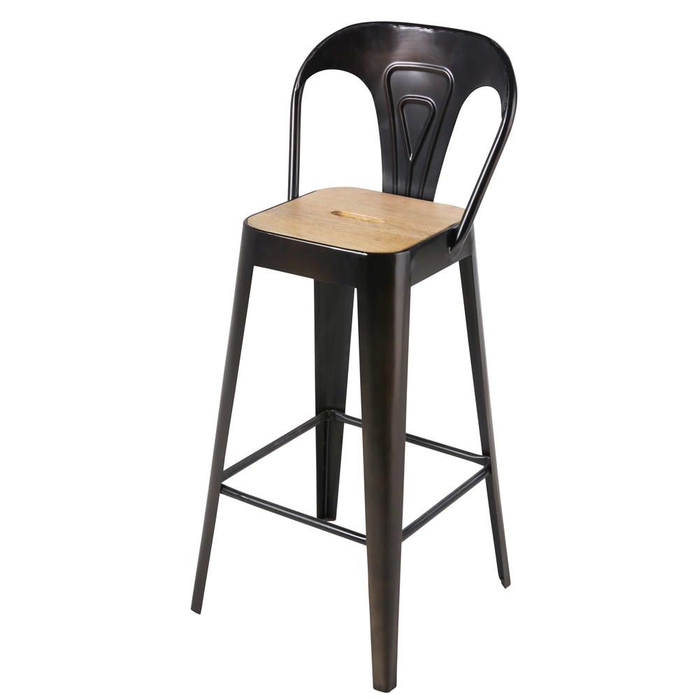 chaise de bar professionnelle en manguier et m tal noir. Black Bedroom Furniture Sets. Home Design Ideas