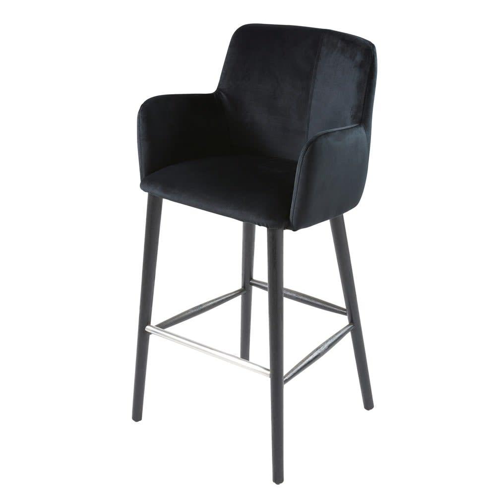 Chaise De Bar Professionnelle Vintage En Velours Noir H110 Doris Pro