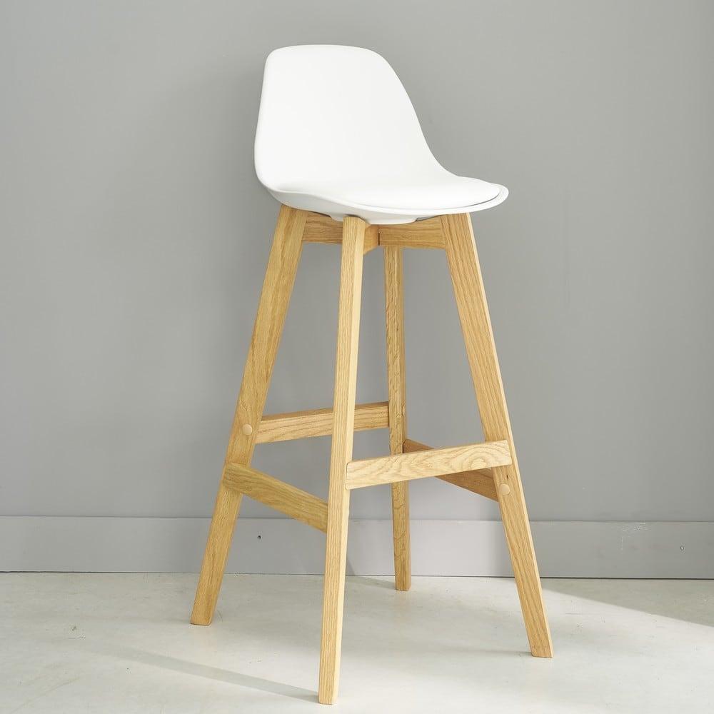 chaise de bar style scandinave blanche et ch ne ice maisons du monde. Black Bedroom Furniture Sets. Home Design Ideas
