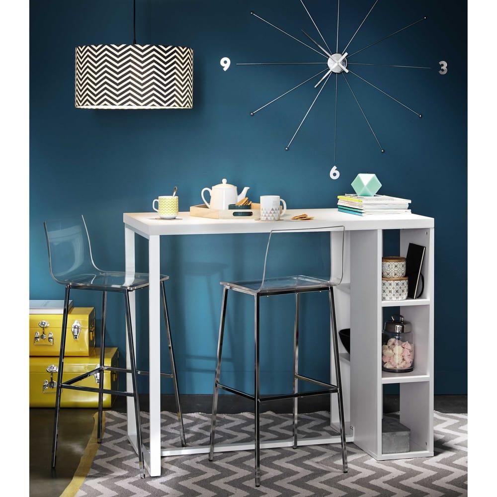 chaise de bar transparente et acier chrom seattle maisons du monde. Black Bedroom Furniture Sets. Home Design Ideas