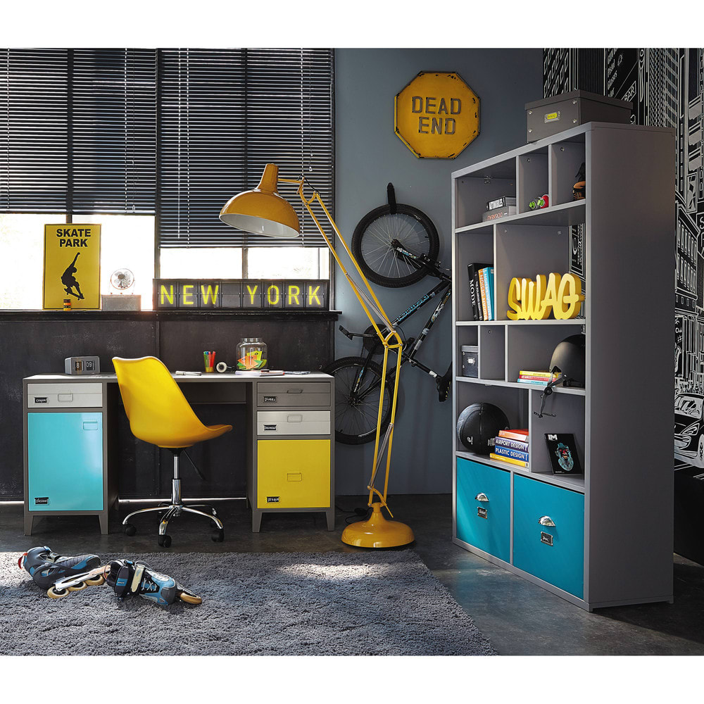 chaise de bureau roulettes jaune bristol maisons du monde. Black Bedroom Furniture Sets. Home Design Ideas
