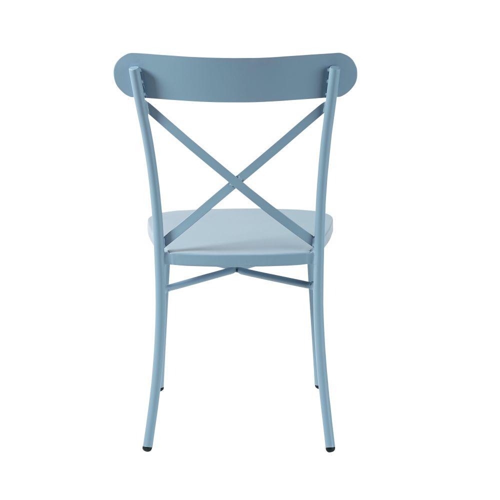 chaise de jardin bistrot en m tal bleu tradition outdoor. Black Bedroom Furniture Sets. Home Design Ideas