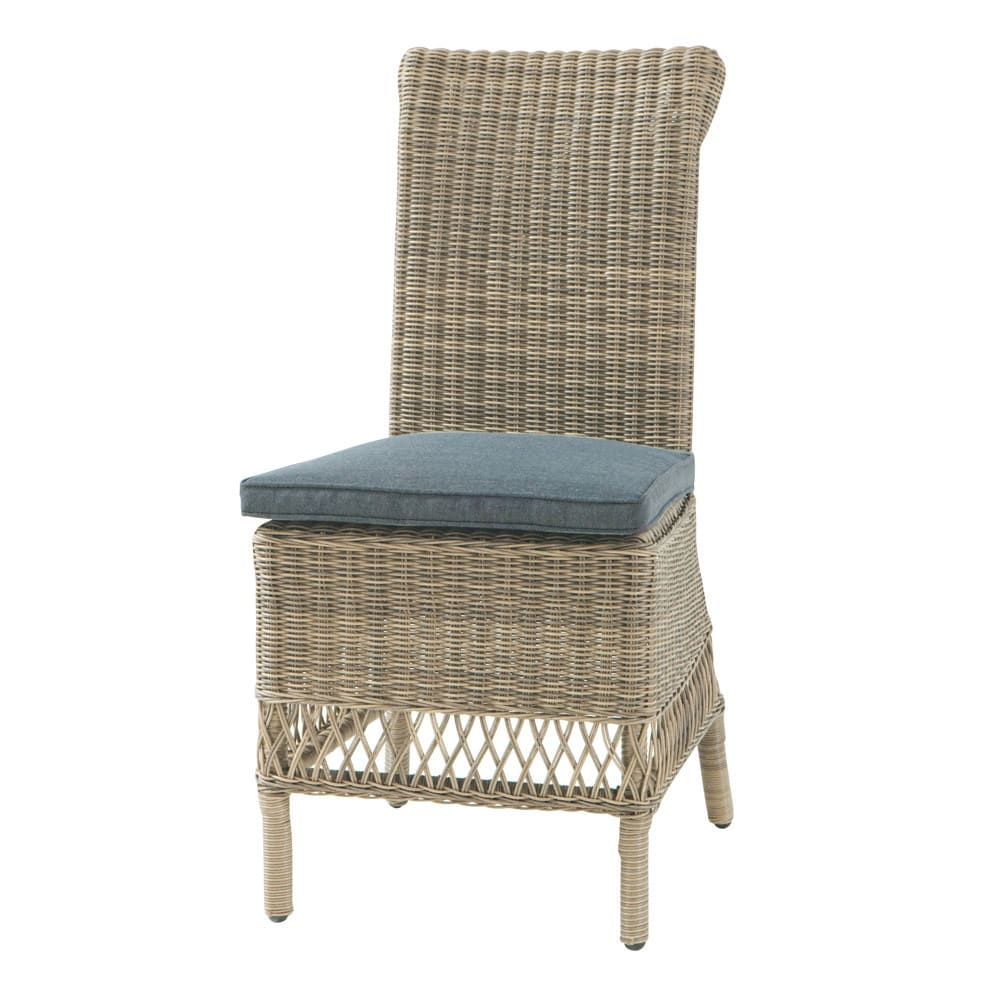 Chaise de jardin coussin en r sine tress e et tissu - Chaise de jardin en resine ...