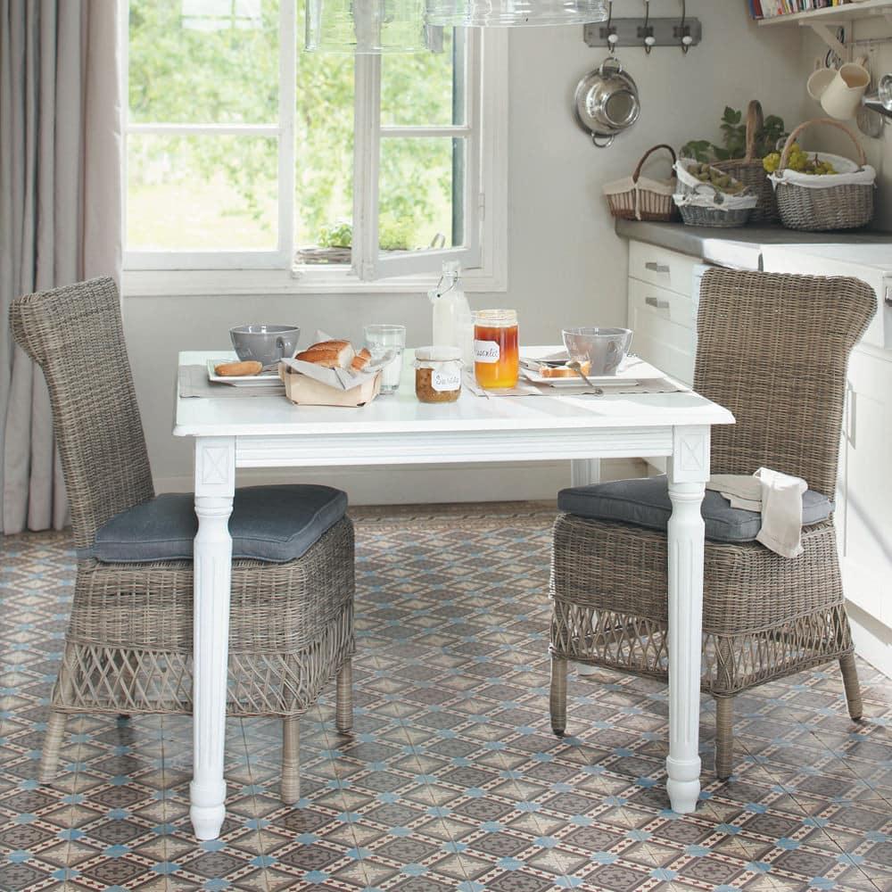 chaise de jardin coussin en r sine tress e et tissu grise st rapha l maisons du monde. Black Bedroom Furniture Sets. Home Design Ideas