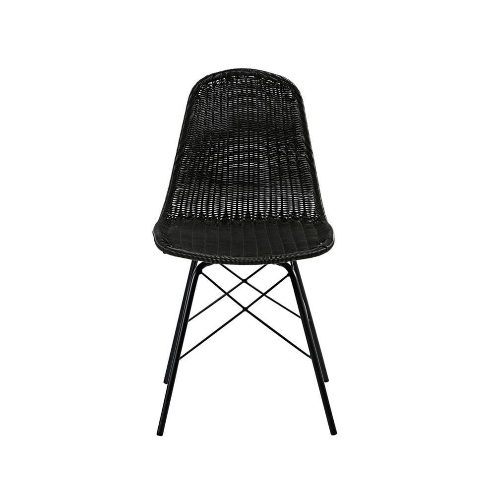 Chaise de jardin en acier et résine tressée noire Beckett | Maisons ...