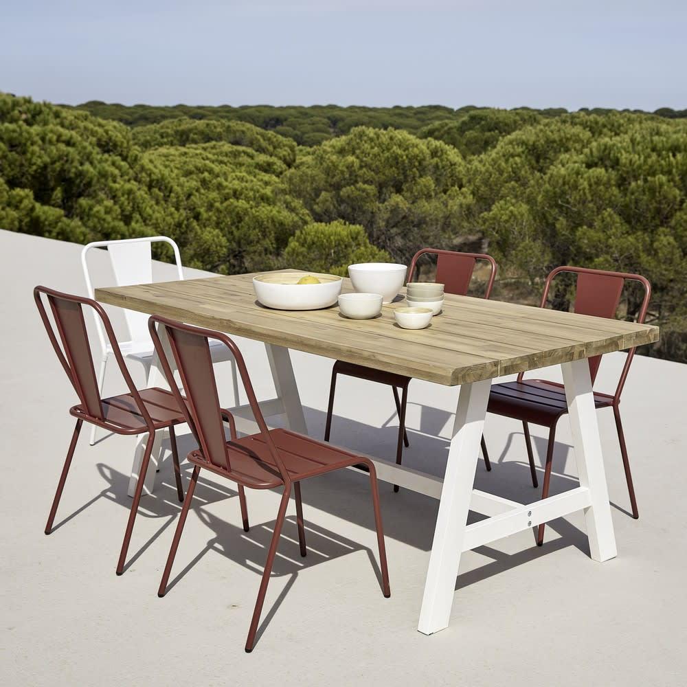 Chaise de jardin en m tal blanche harry 39 s maisons du monde - Chaise de jardin en metal ...