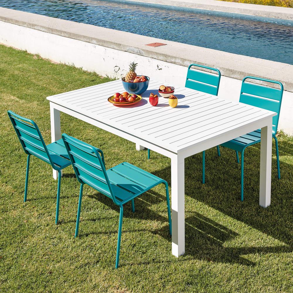 Chaise de jardin en m tal bleu canard batignolles maisons du monde - Chaise de jardin en metal ...