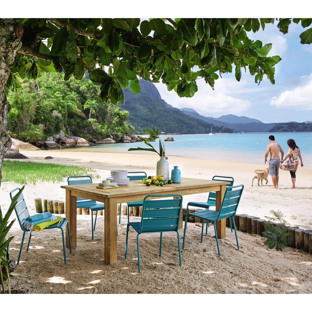 chaise de jardin en m tal bleu canard batignolles. Black Bedroom Furniture Sets. Home Design Ideas