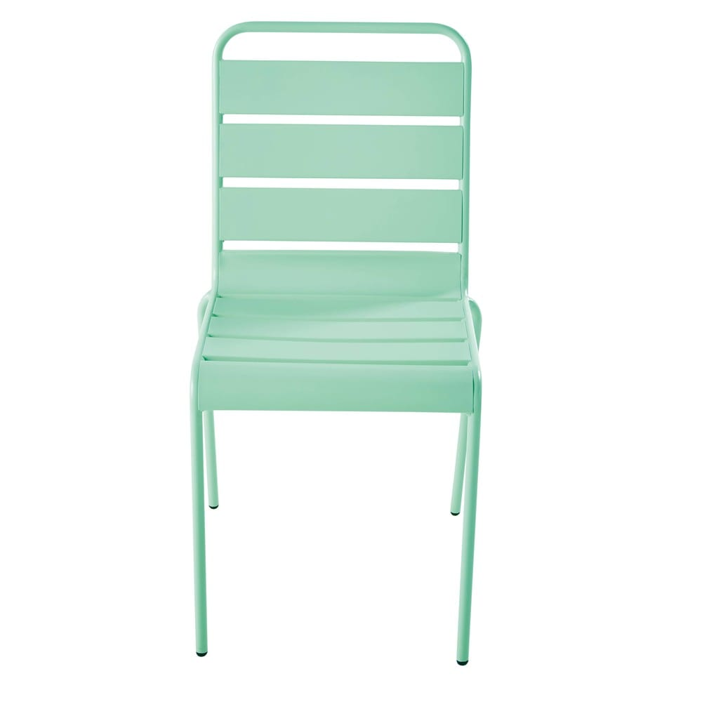 Chaise de jardin en m tal bleu turquoise batignolles maisons du monde - Chaise de jardin en metal ...
