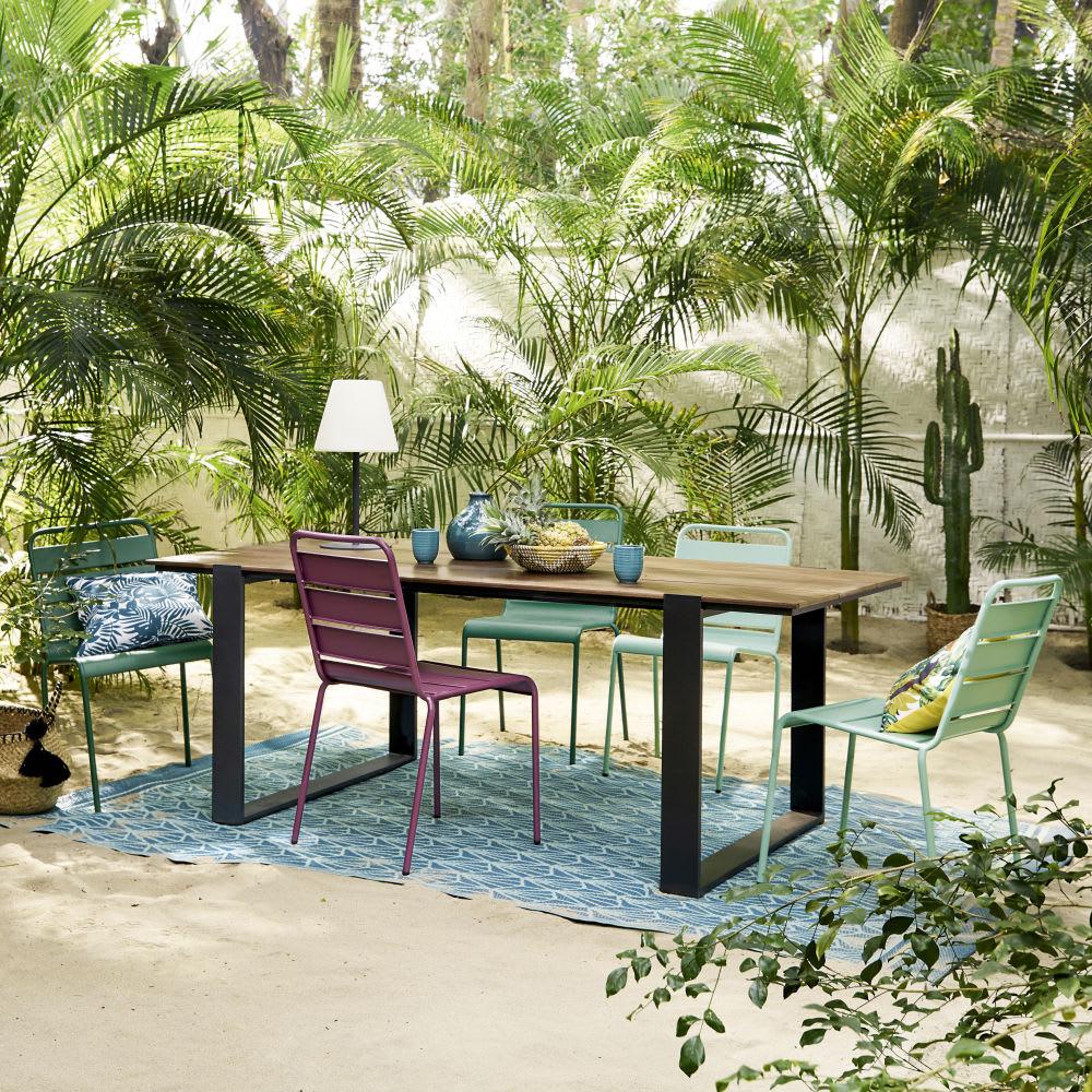 chaise de jardin en m tal bleu turquoise batignolles. Black Bedroom Furniture Sets. Home Design Ideas