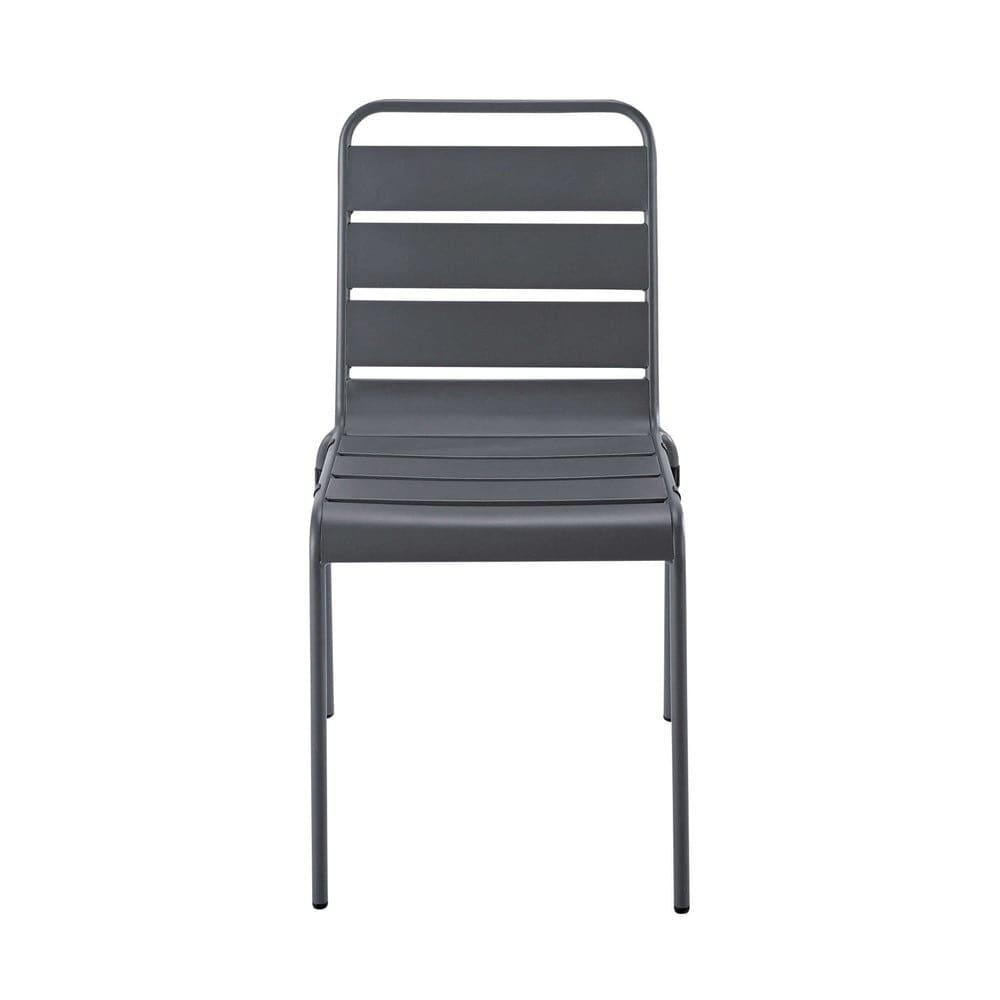 Chaise de jardin en m tal grise batignolles maisons du monde - Chaise de jardin aluminium ...