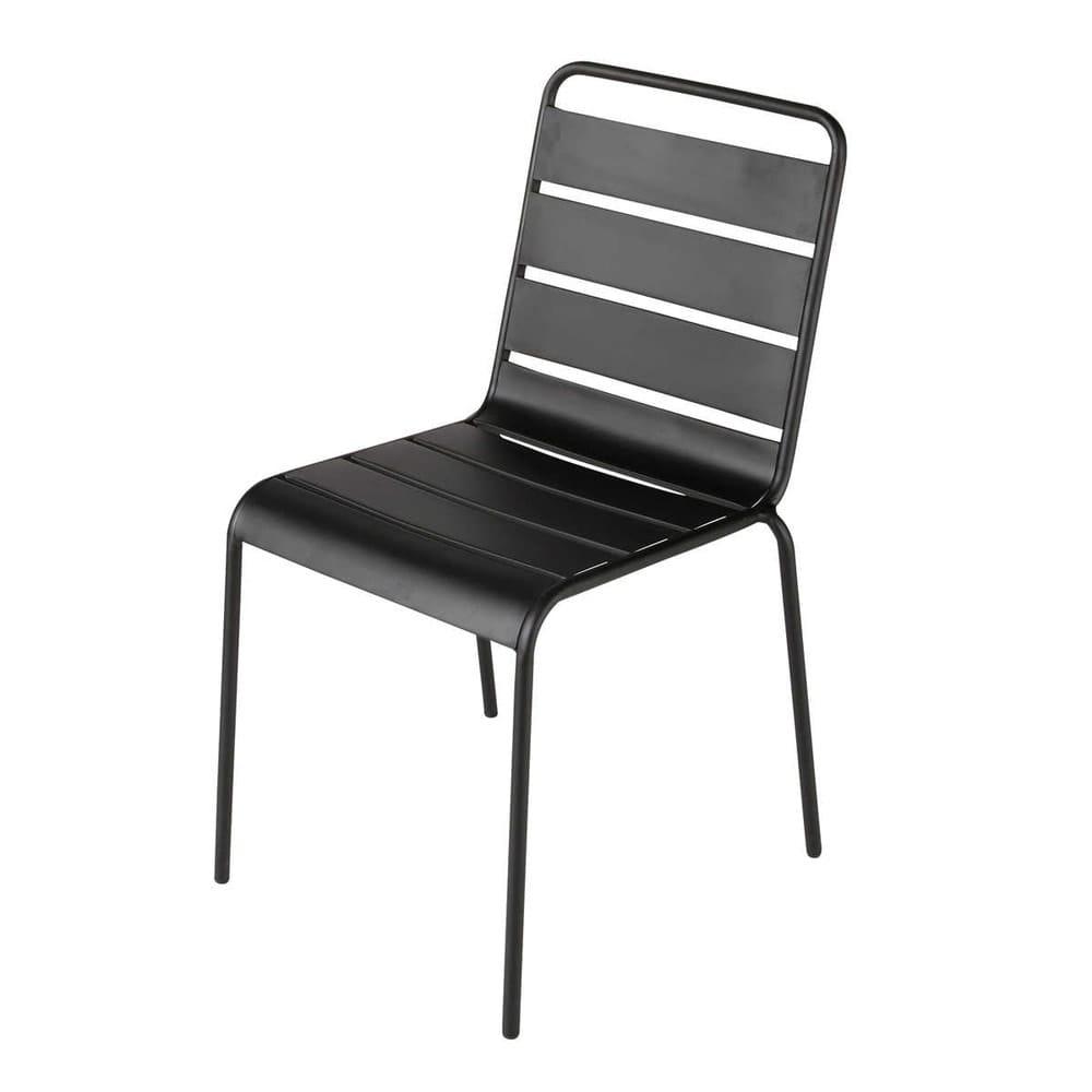 Chaise de jardin en m tal noire batignolles maisons du monde - Chaise maison du monde ...
