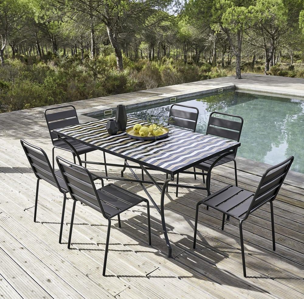 Chaise de jardin en m tal noire batignolles maisons du monde - Chaise de jardin en metal ...