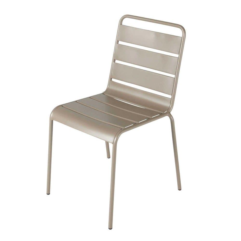 Chaise de jardin en métal taupe Batignolles | Maisons du Monde