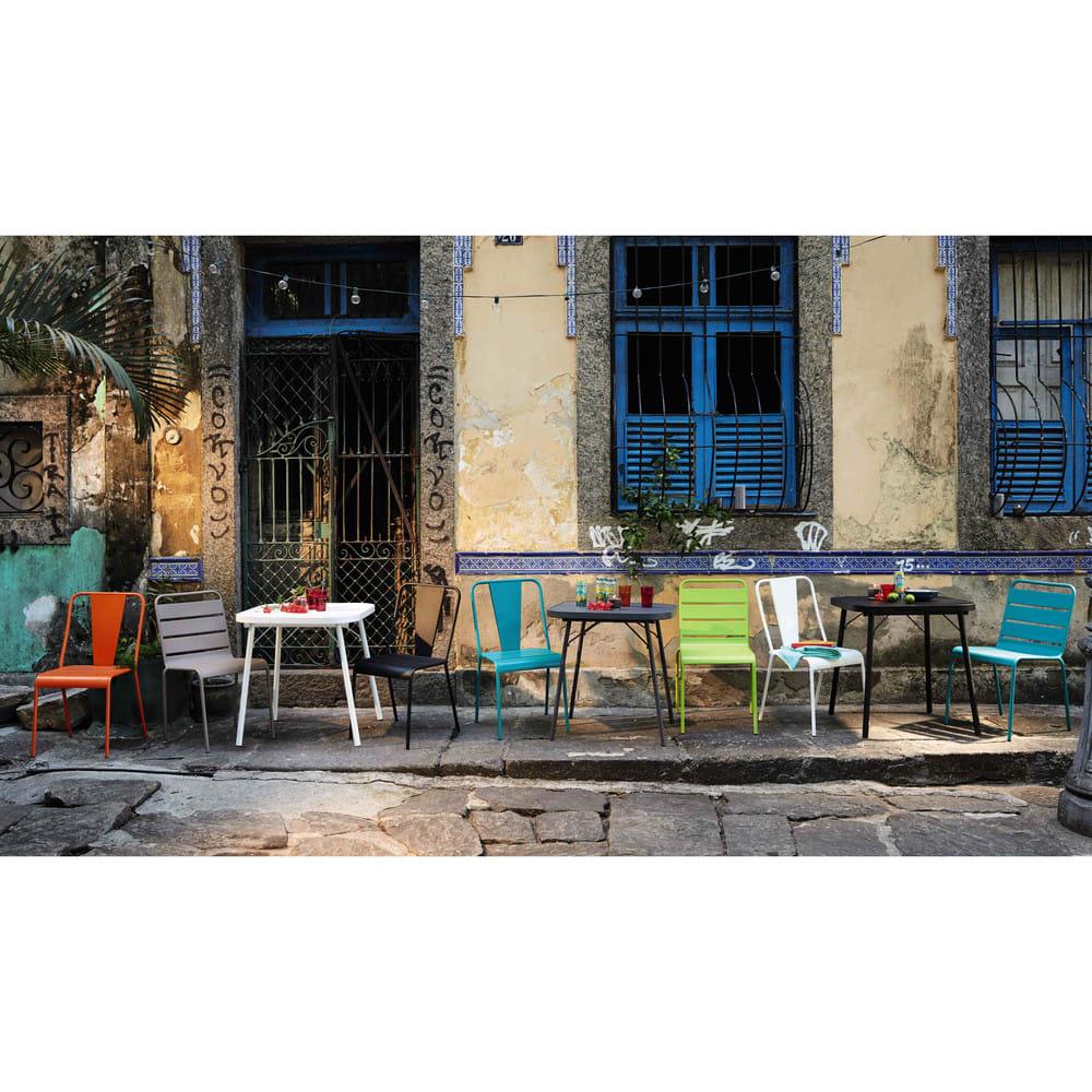 chaise de jardin en m tal taupe batignolles maisons du monde. Black Bedroom Furniture Sets. Home Design Ideas