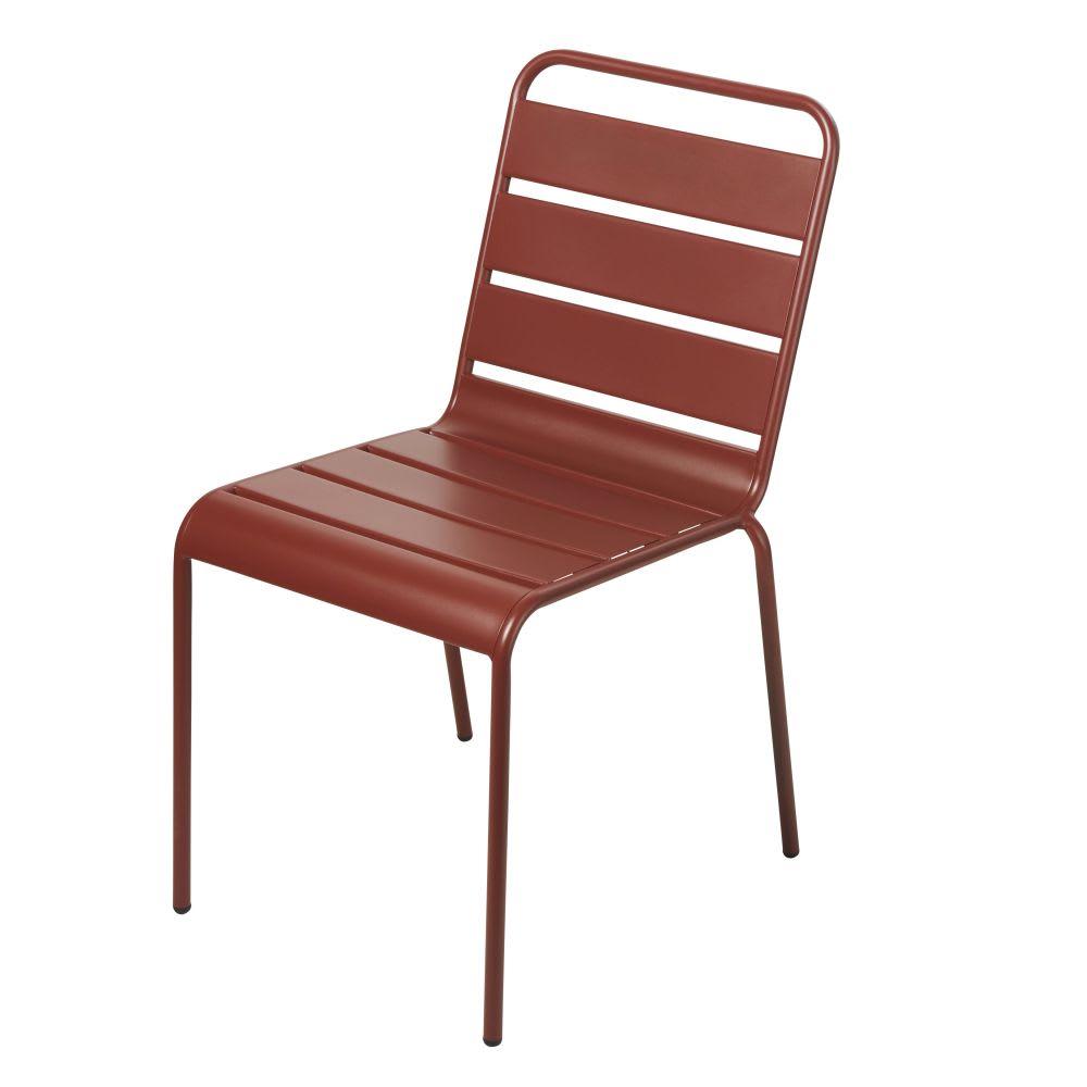 Chaise de jardin en m tal terracotta batignolles maisons du monde - Chaise de jardin en metal ...