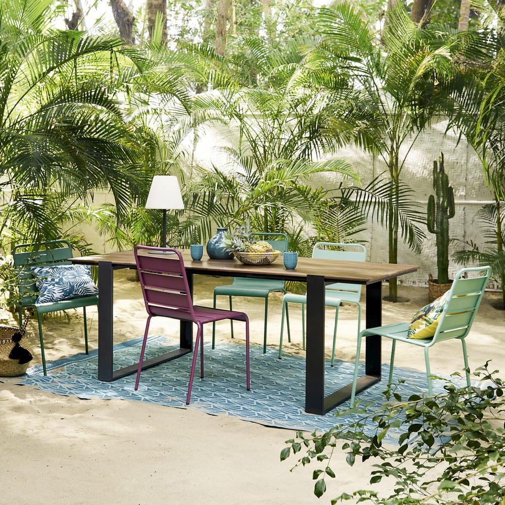Chaise de jardin en m tal vert batignolles maisons du monde - Chaise de jardin en metal ...