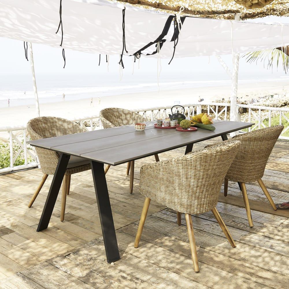 chaise de jardin en r sine tress e et acacia massif kuta maisons du monde. Black Bedroom Furniture Sets. Home Design Ideas
