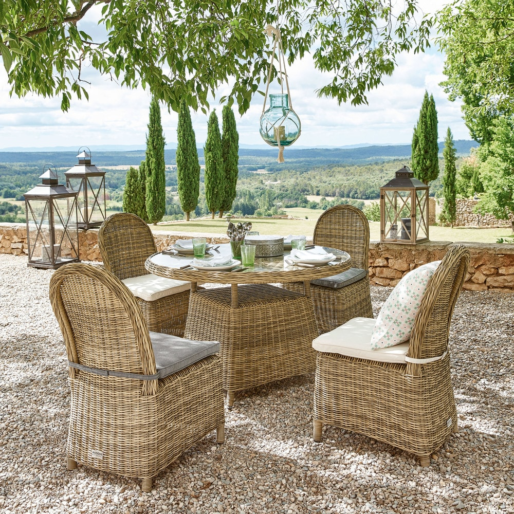 Salle A Manger De Jardin En Resine Tressee chaise de jardin en résine tressée et coussin écru