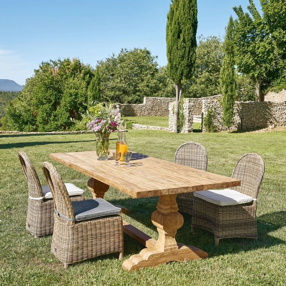 Chaise de jardin en r sine tress e et coussin cru st - Chaise de jardin en resine ...