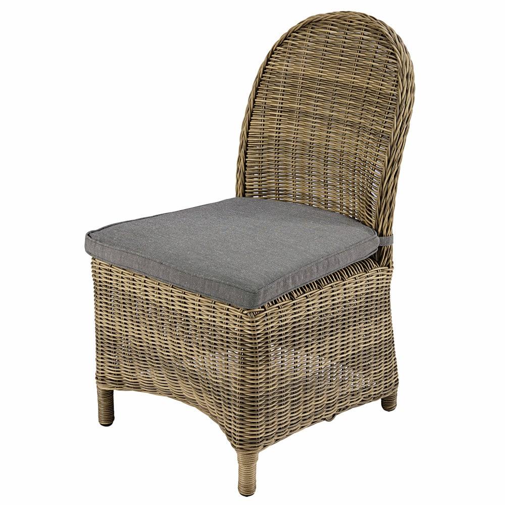 Chaise de jardin en r sine tress e et coussin gris st - Chaise de jardin en resine ...