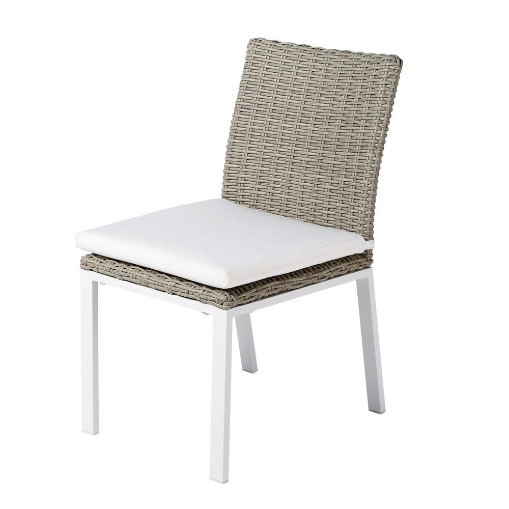 Chaise de jardin en resine tress e gris clair lodge - Chaise de jardin en resine ...