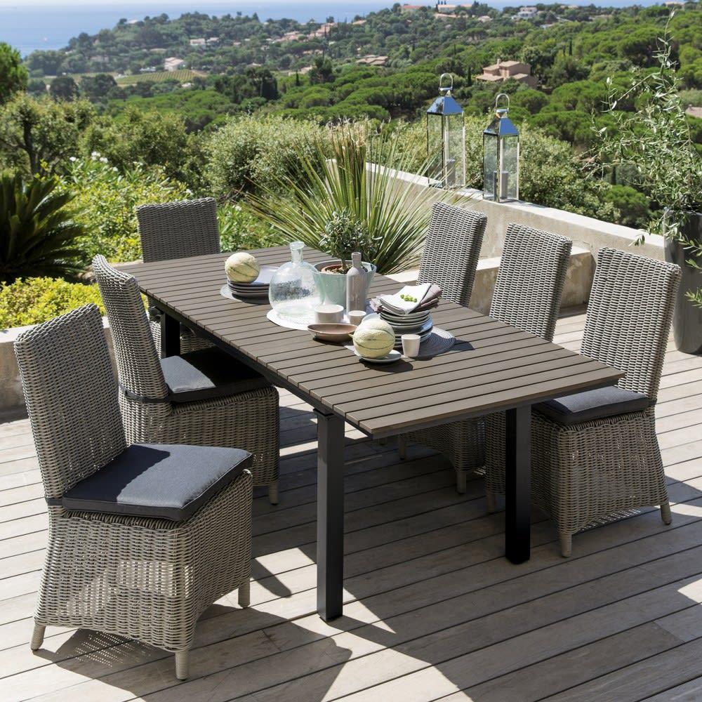chaise de jardin en r sine tress e grise cape town. Black Bedroom Furniture Sets. Home Design Ideas