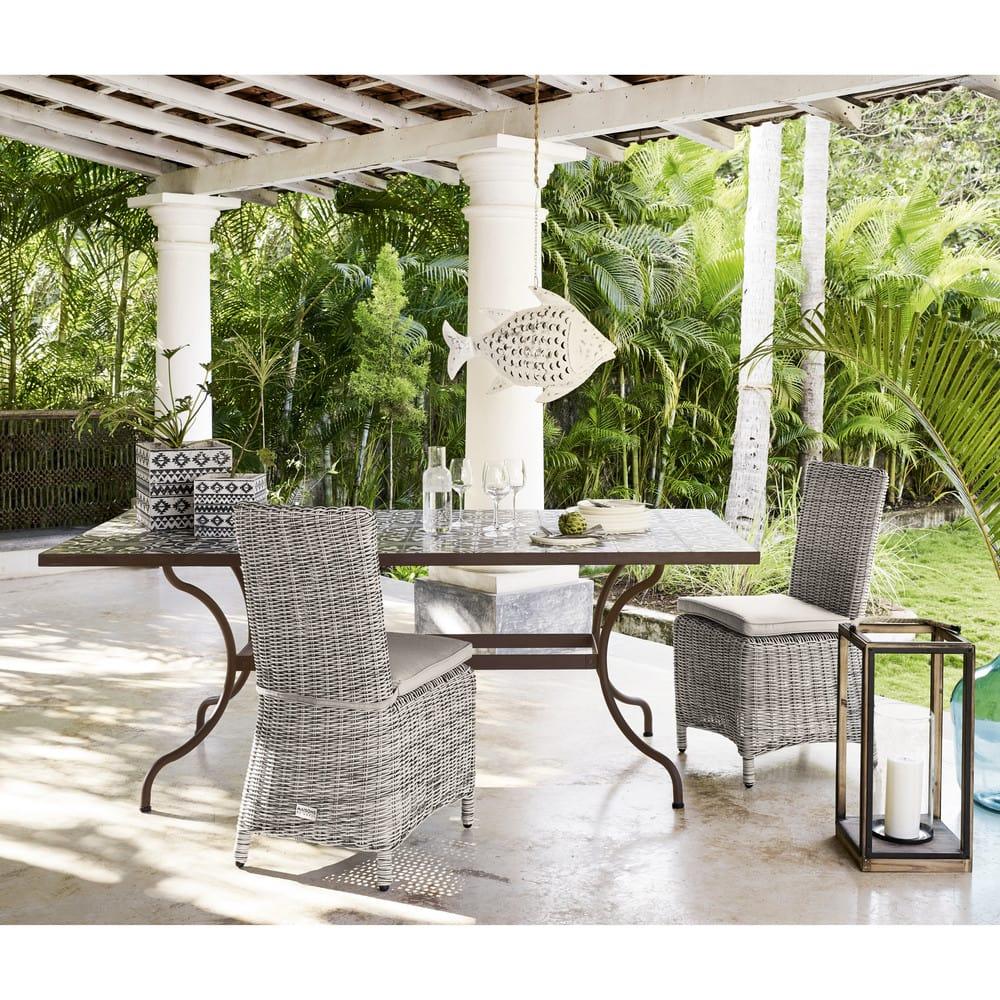 Chaise de jardin en r sine tress e grise cape town - Chaise de jardin en resine ...