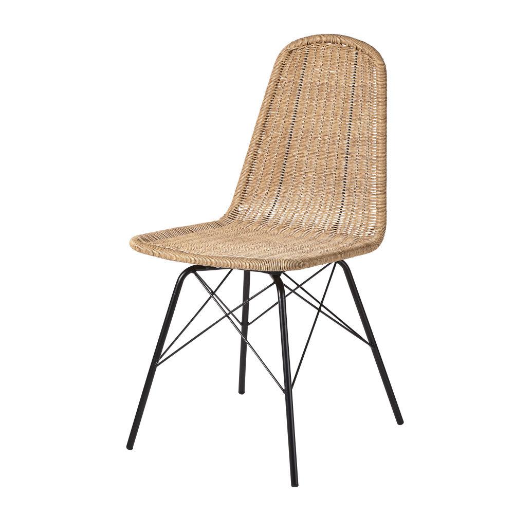 Chaise de jardin en r sine tress e imitation rotin et m tal noir beckett maisons du monde - Chaise de jardin en metal ...