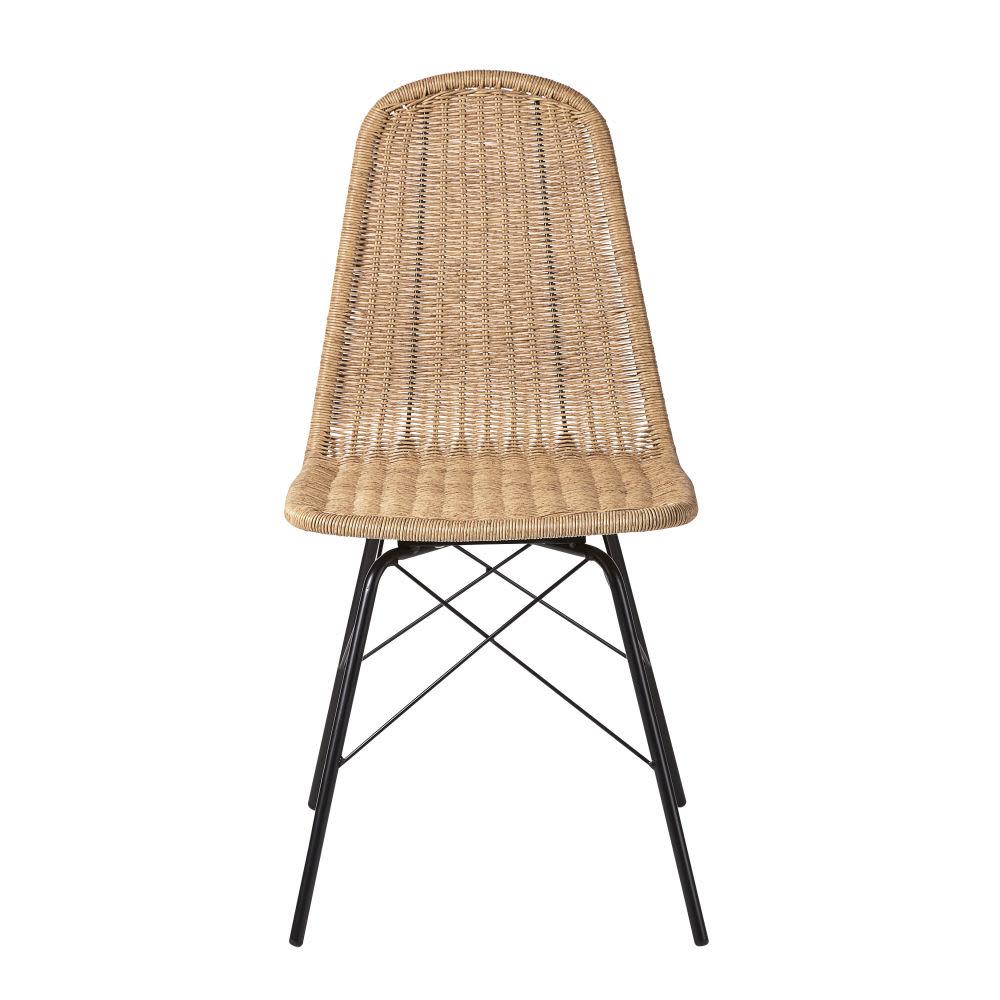 Chaise de jardin en résine tressée imitation rotin et métal noir ...