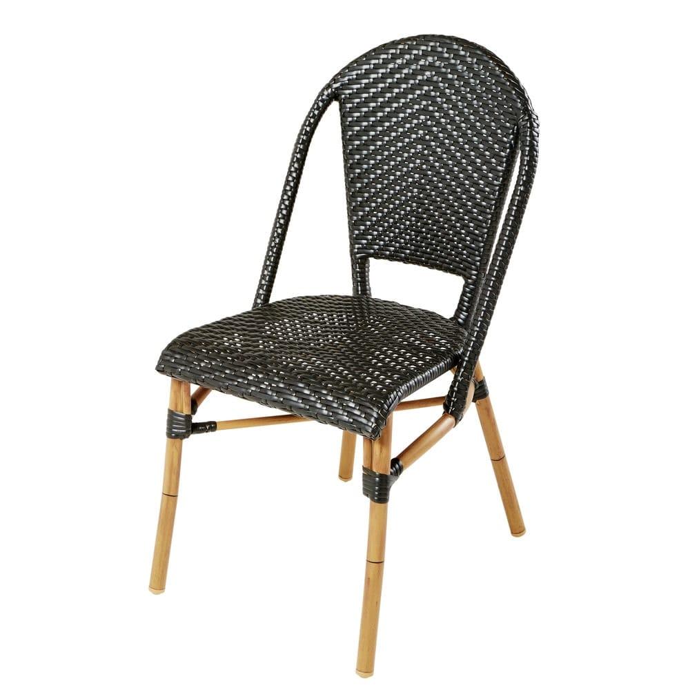 Chaise de jardin en r sine tress e noire h88 kafe pro - Chaise de jardin en resine ...
