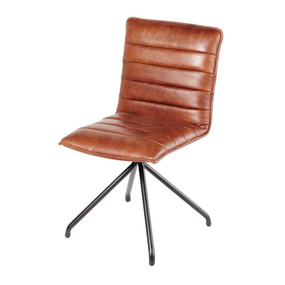 Chaise en cuir marron Harley  Maisons du Monde
