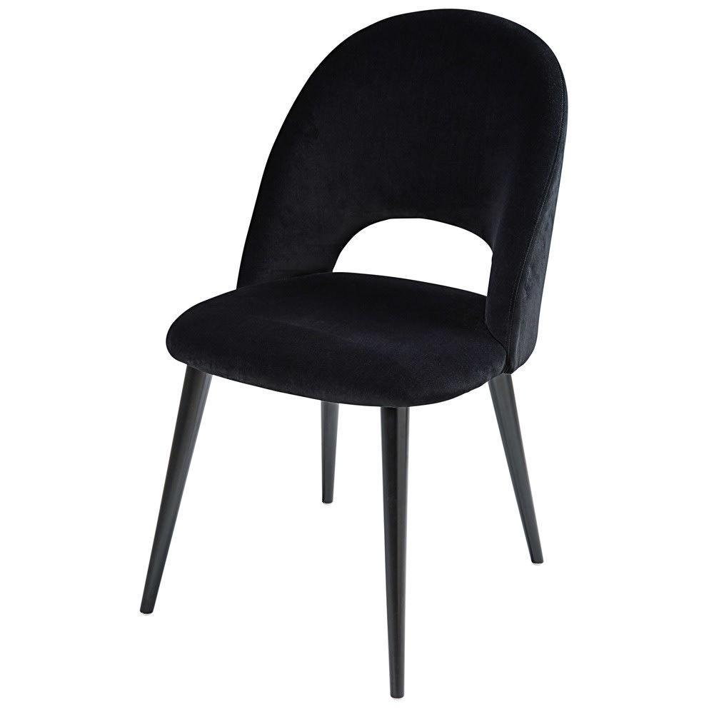 Chaise En Velours Noir Et Bouleau Iris