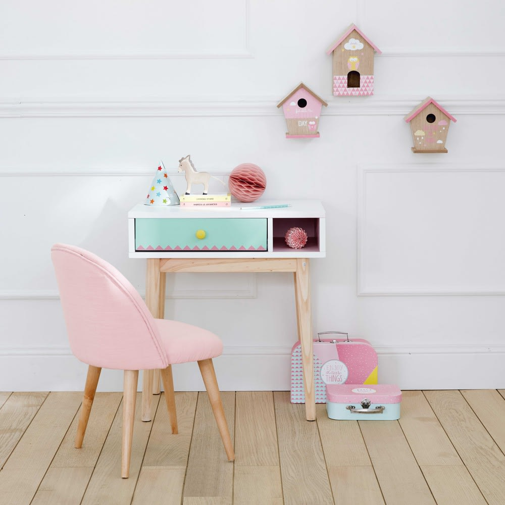 chaise enfant vintage rose et bouleau massif mauricette. Black Bedroom Furniture Sets. Home Design Ideas