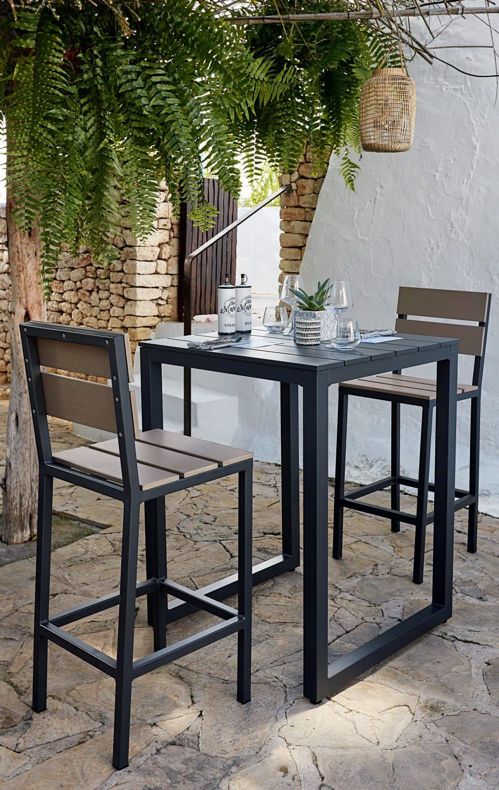 Chaise haute de jardin professionnelle en aluminium gris anthracite ...