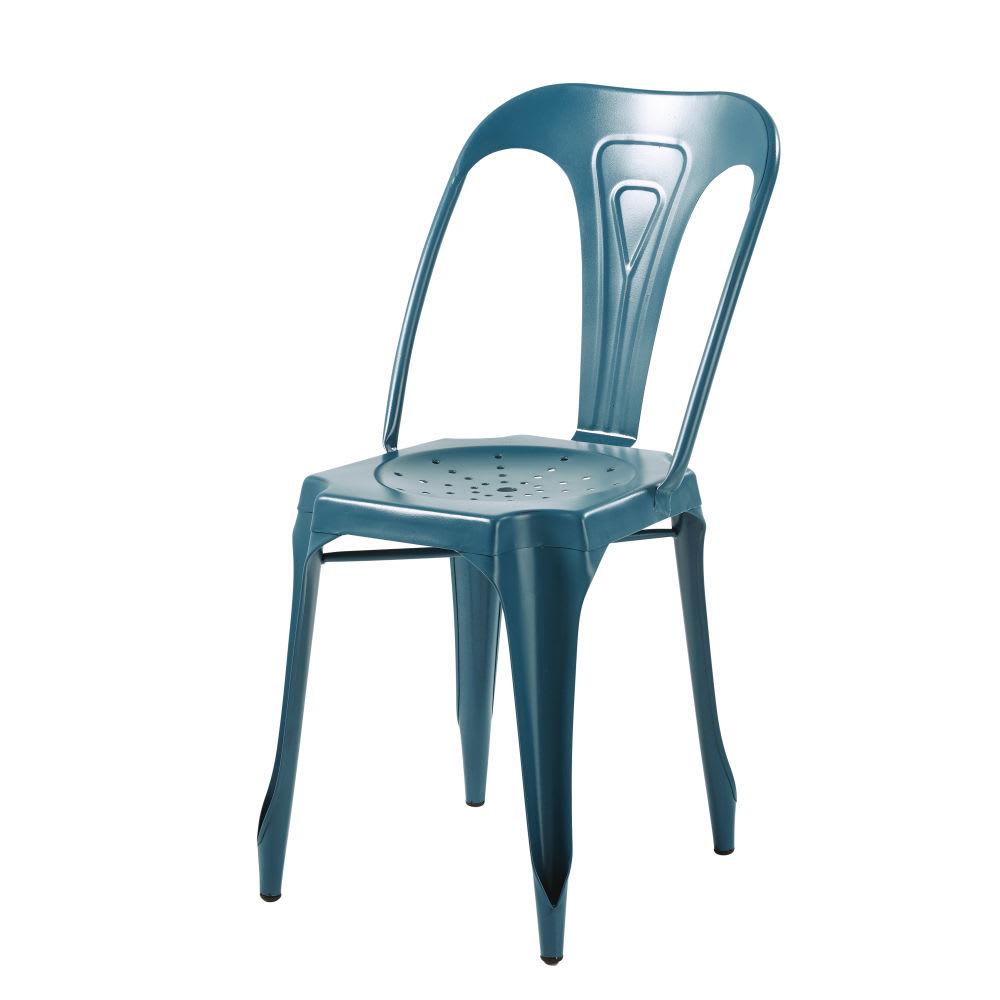 chaise indus en m tal bleu p trole multipl 39 s maisons du monde. Black Bedroom Furniture Sets. Home Design Ideas