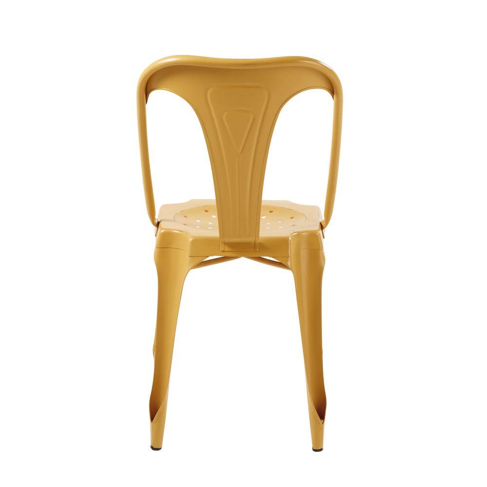 chaise indus en m tal jaune moutarde multipl 39 s maisons. Black Bedroom Furniture Sets. Home Design Ideas