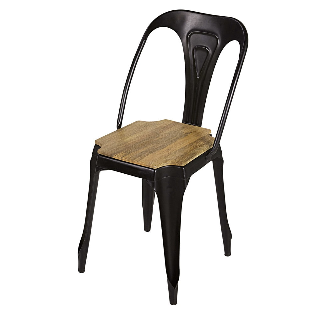 multipl's - chaise indus en métal noir mat et manguier