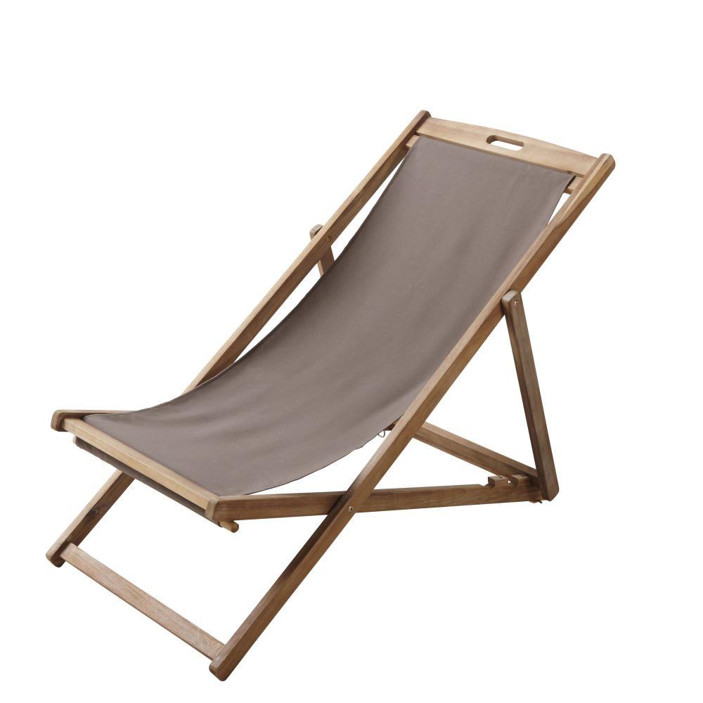 chaise longue chilienne pliante taupe en acacia massif panama maisons du monde. Black Bedroom Furniture Sets. Home Design Ideas