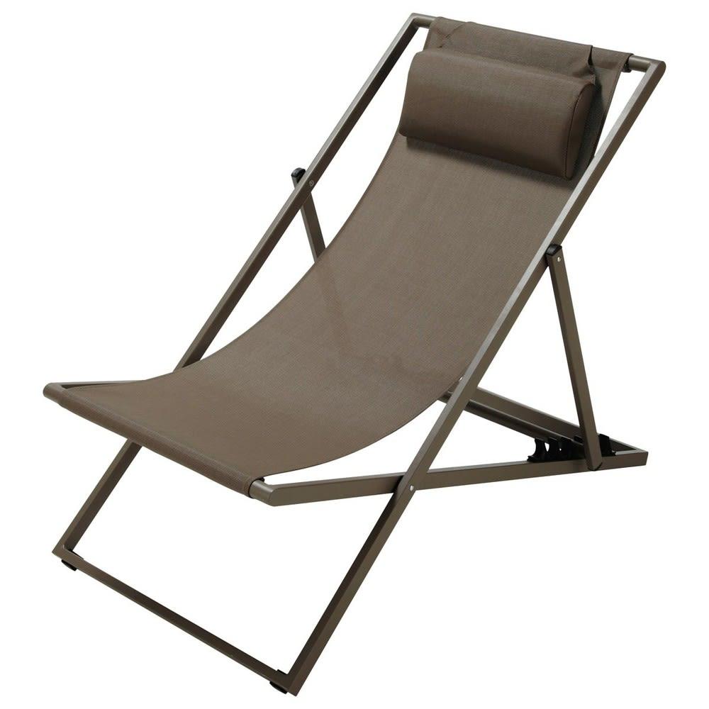 Chaise longue / sdraio pieghevole color talpa in metallo Split ...
