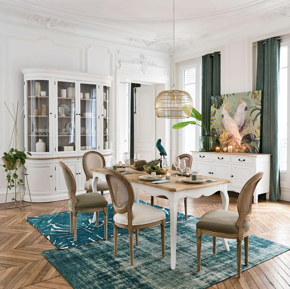 chaise m daillon en lin blanc et cannage en rotin louis. Black Bedroom Furniture Sets. Home Design Ideas