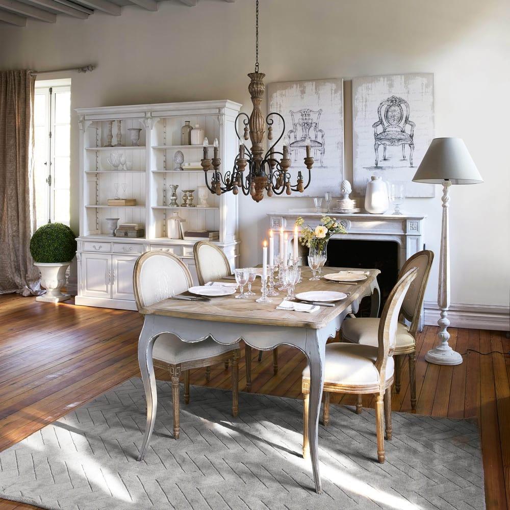 chaise m daillon en lin coloris lin et ch ne gris louis. Black Bedroom Furniture Sets. Home Design Ideas