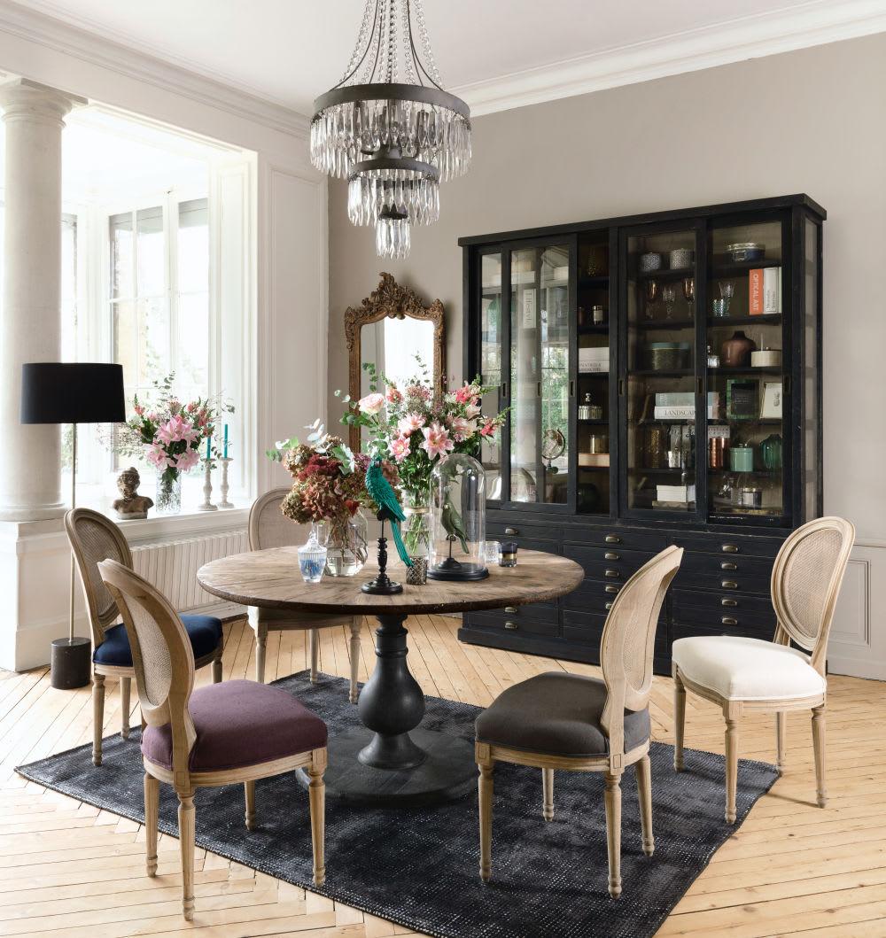 chaise m daillon en lin gris fonc et cannage en rotin. Black Bedroom Furniture Sets. Home Design Ideas