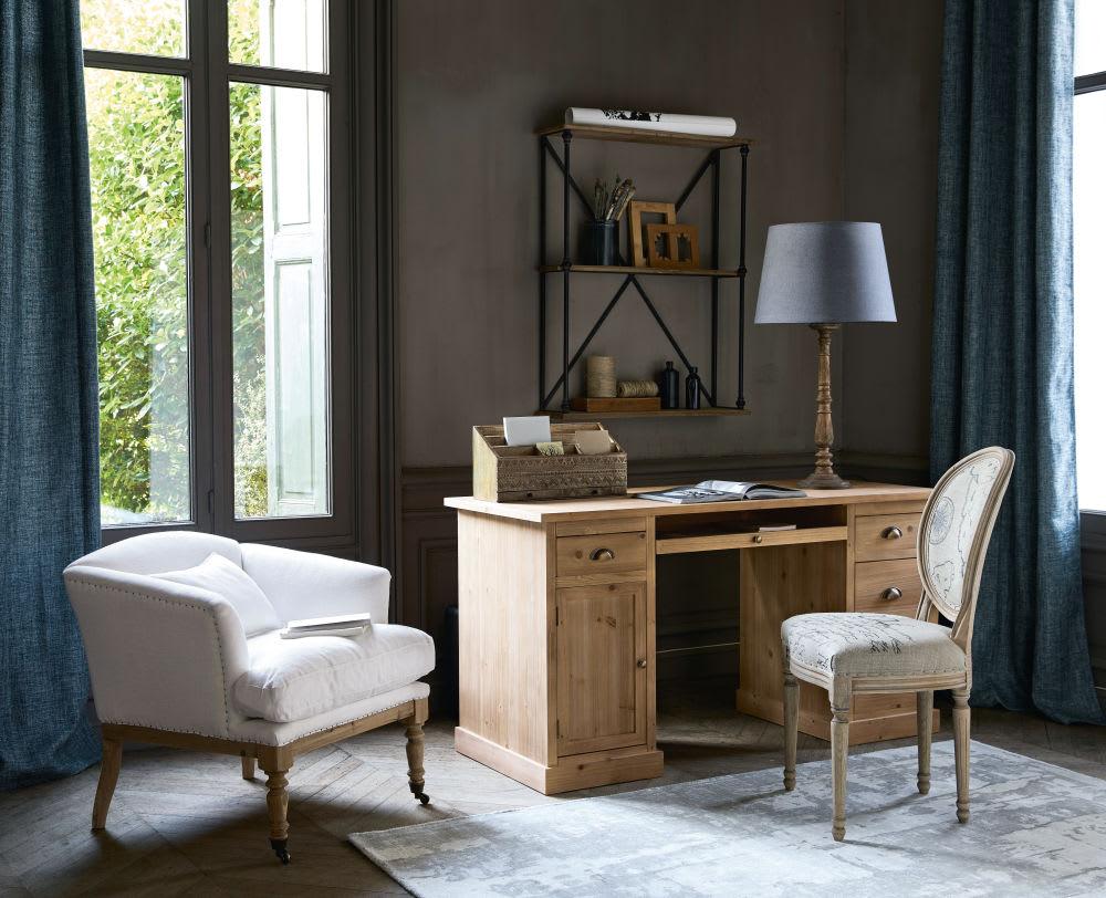 chaise m daillon en lin imprim et ch ne massif louis. Black Bedroom Furniture Sets. Home Design Ideas